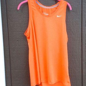 Nike Orange Crew Neck Tank Top, Xl